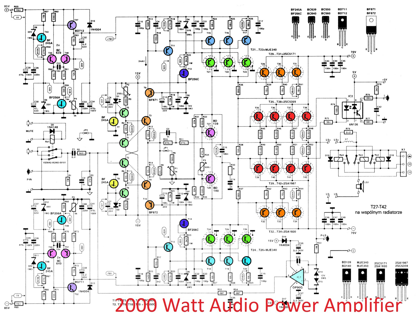 2000w high power amplifier 2sc5359 2sa1987 electronic circuit rh elcircuit com  2000w audio amplifier circuit diagram datasheet