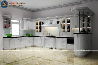 Tủ bếp tân cổ điển nhà biệt thự