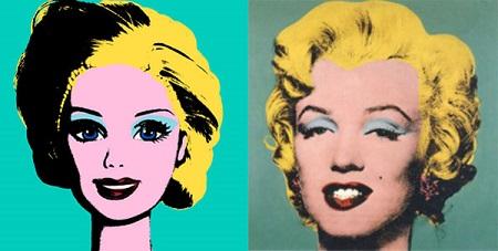 Barbie réplica do quadro Barbie Quinze minutos de celebridade de Andy Warholde Jocelyne Grivaud