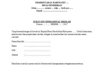 Contoh Surat Izin Operasional untuk Sekolah