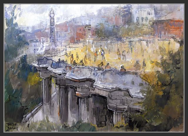 PARC GÜELL-BARCELONA-PINTURA-ART-MODERNISME-ANTONI GAUDÍ-TRENCADÍS-SALA DE LES CENT COLUMNES-MIRADOR-PINTOR-ERNEST DESCALS