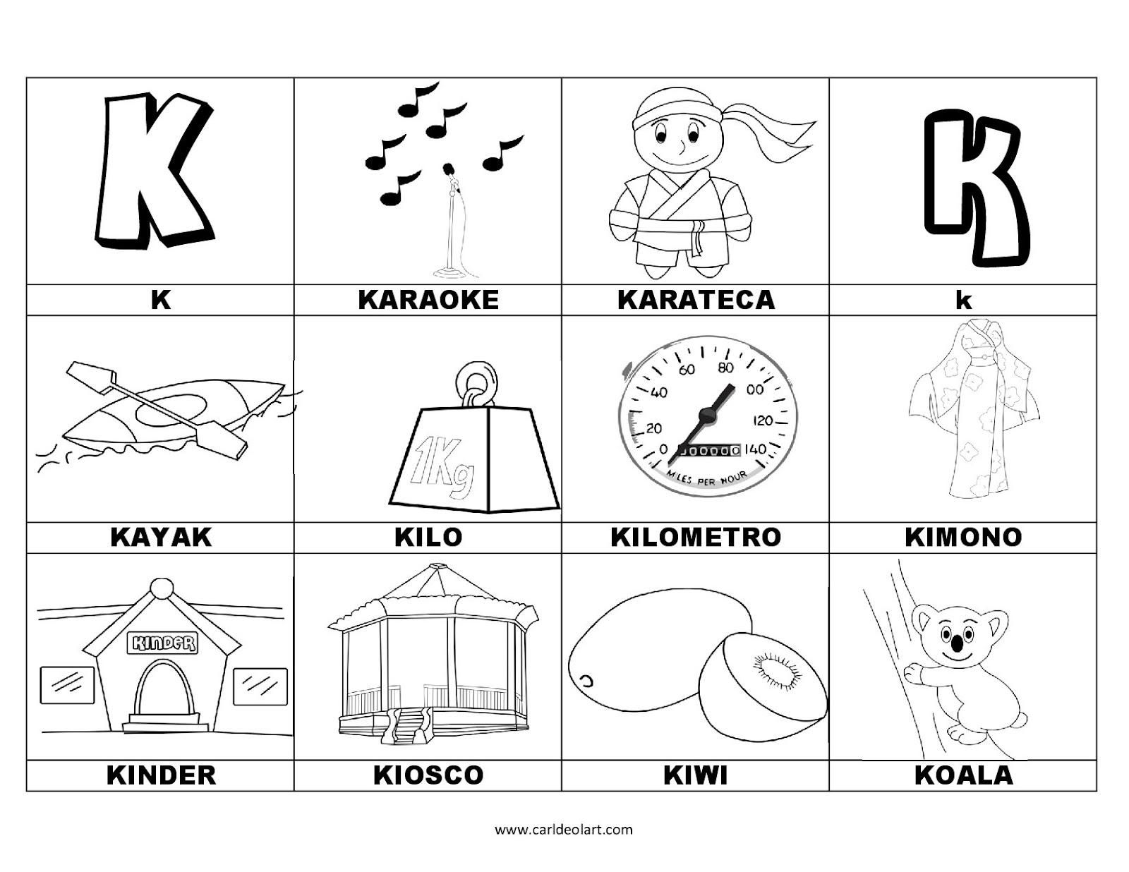 Dibujos Para Colorear Palabras Con K Dibujospacolorearcom