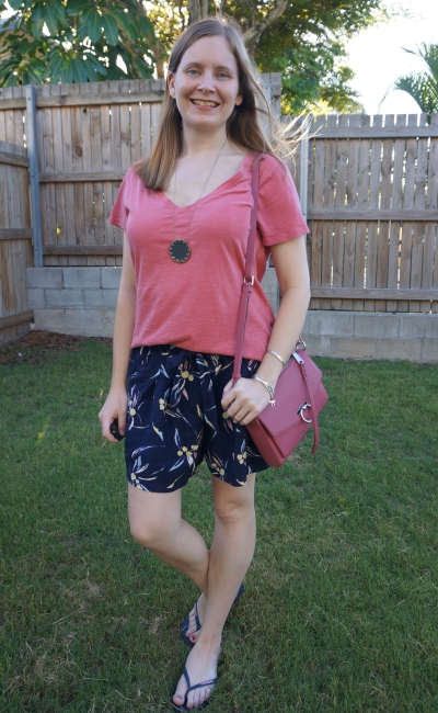 pink cotton on the one tee with navy printed culotte shorts rebecca minkoff jean MAC   awayfromblue