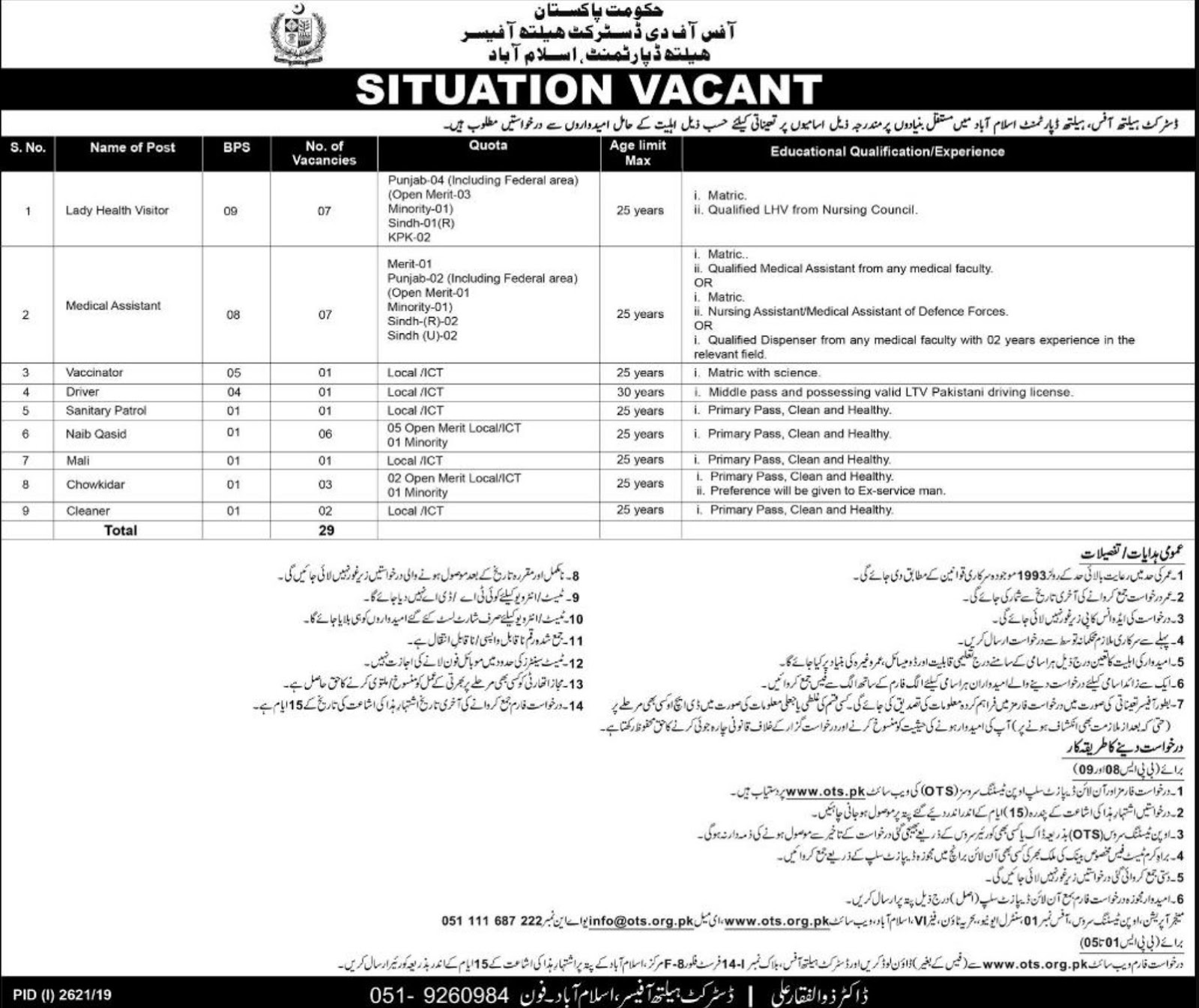 Office of the District Health Officer Department Islamabad Jobs 2019