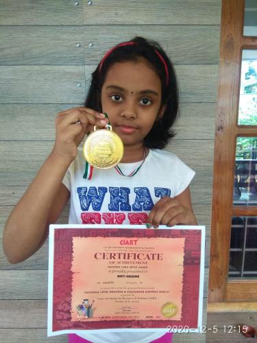 Aditi Krishna of 4A wins National Child Artist Award