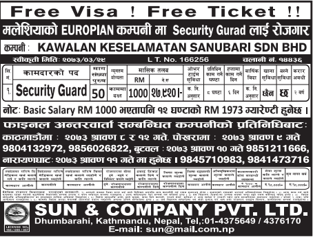 Free Visa, Free Ticket, Jobs For Nepali In Malaysia, Salary -Rs.50,000/