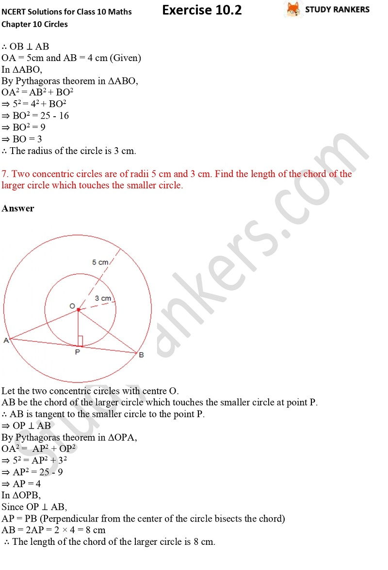 NCERT Solutions for Class 10 Maths Chapter 10 Circles Exercise 10.2 Part 5
