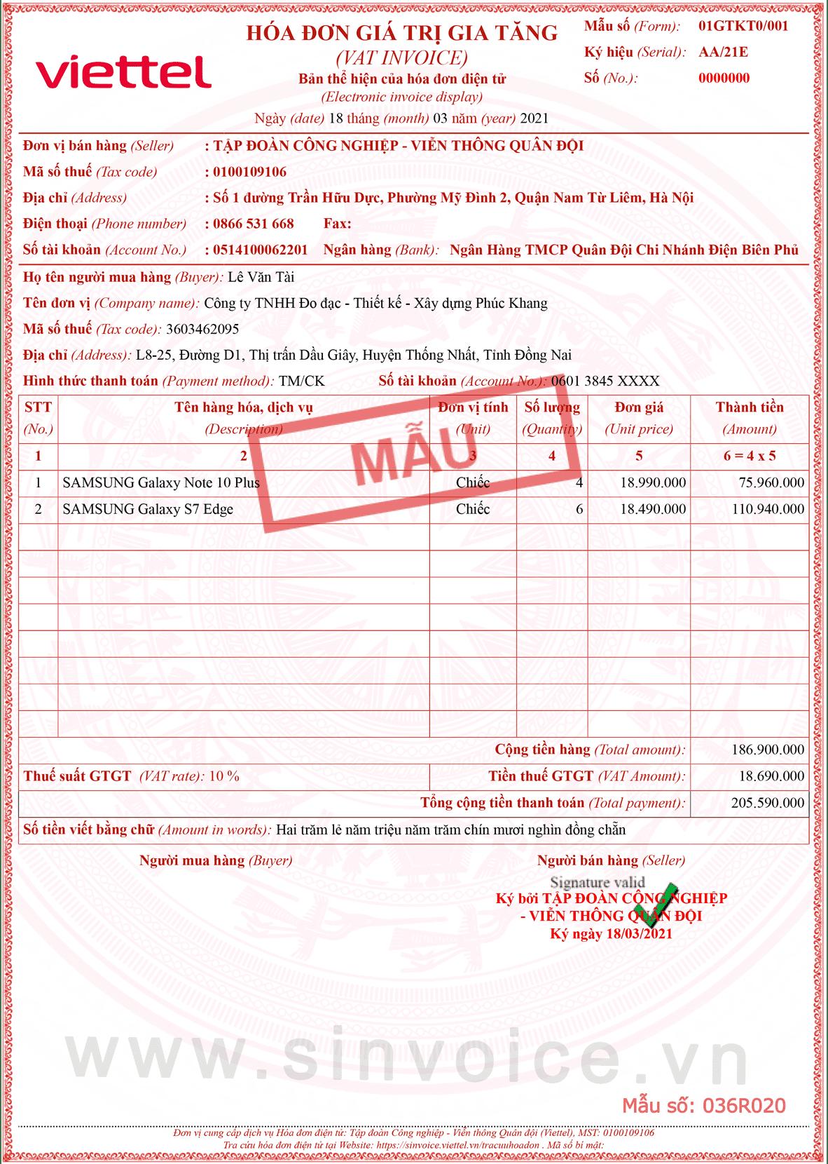 Mẫu hóa đơn điện tử số 036R020