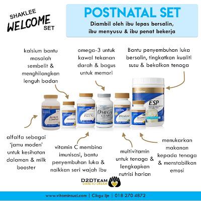 postnatal set, vitamin selepas bersalin, vitamin pantang, vitamin penyusuan,