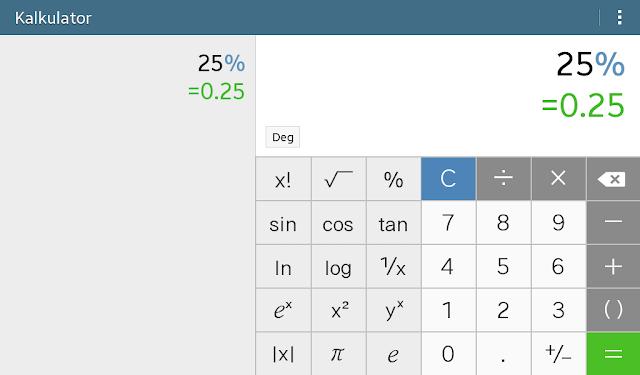 cara menghitung persen di kalkulator ilmiah