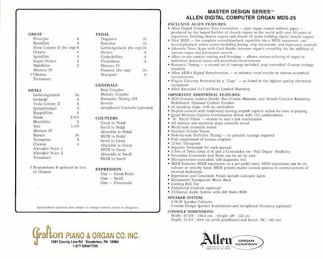 Allen Organ MDS-25 specifications and stoplist