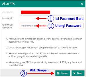 Cara Merubah Password PTK di Dapodik