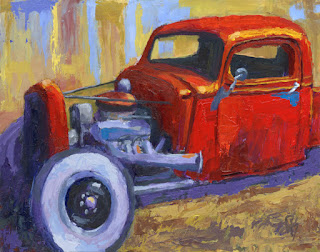 painting art automotive hot rod chevy pickup truck impressionist