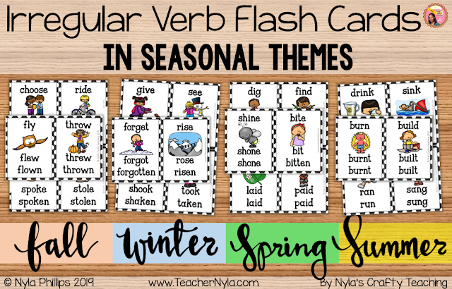 Irregular Verb Printables in Seasonal Themes