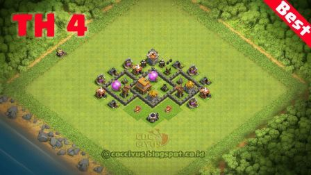 Formasi clash of clans town hall 4 trophy base