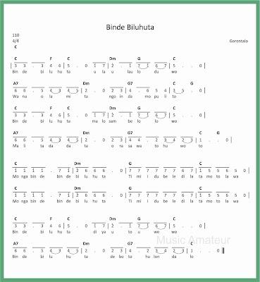 not angka lagu binde biluhuta
