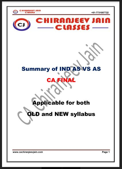 Download CA Final Financial Reporting Summary of IndAS vs AS
