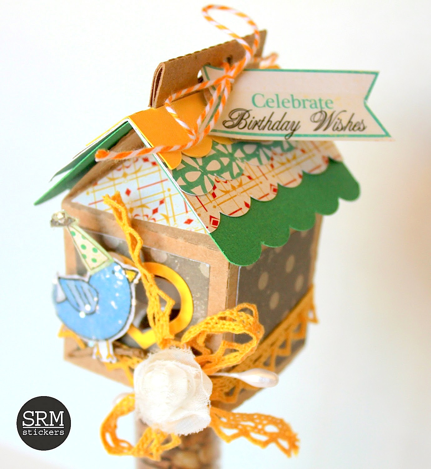 SRM Stickers Blog - Birthday Bird House Tube by Shantaie - #tube #altered #birthday #stickers #fancy #mixed media #favors #twine #silhouette
