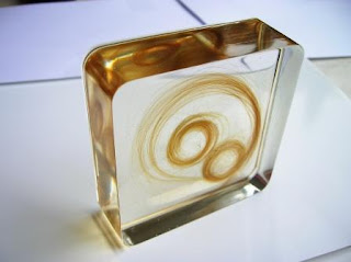 Square paperweight for a lock of hair