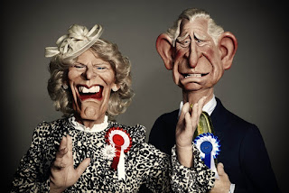 Charles and Camilla caricature puppets