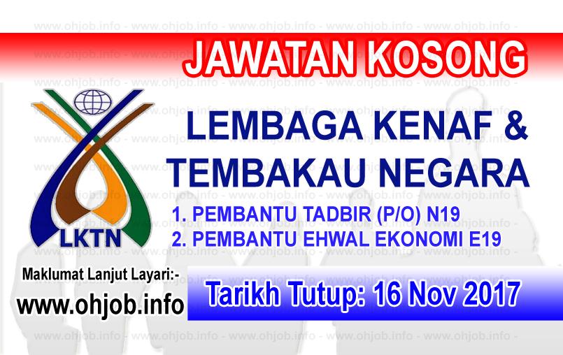 Jawatan Kerja Kosong LKTN - Lembaga Kenaf dan Tembakau Negara logo www.ohjob.info november 2017