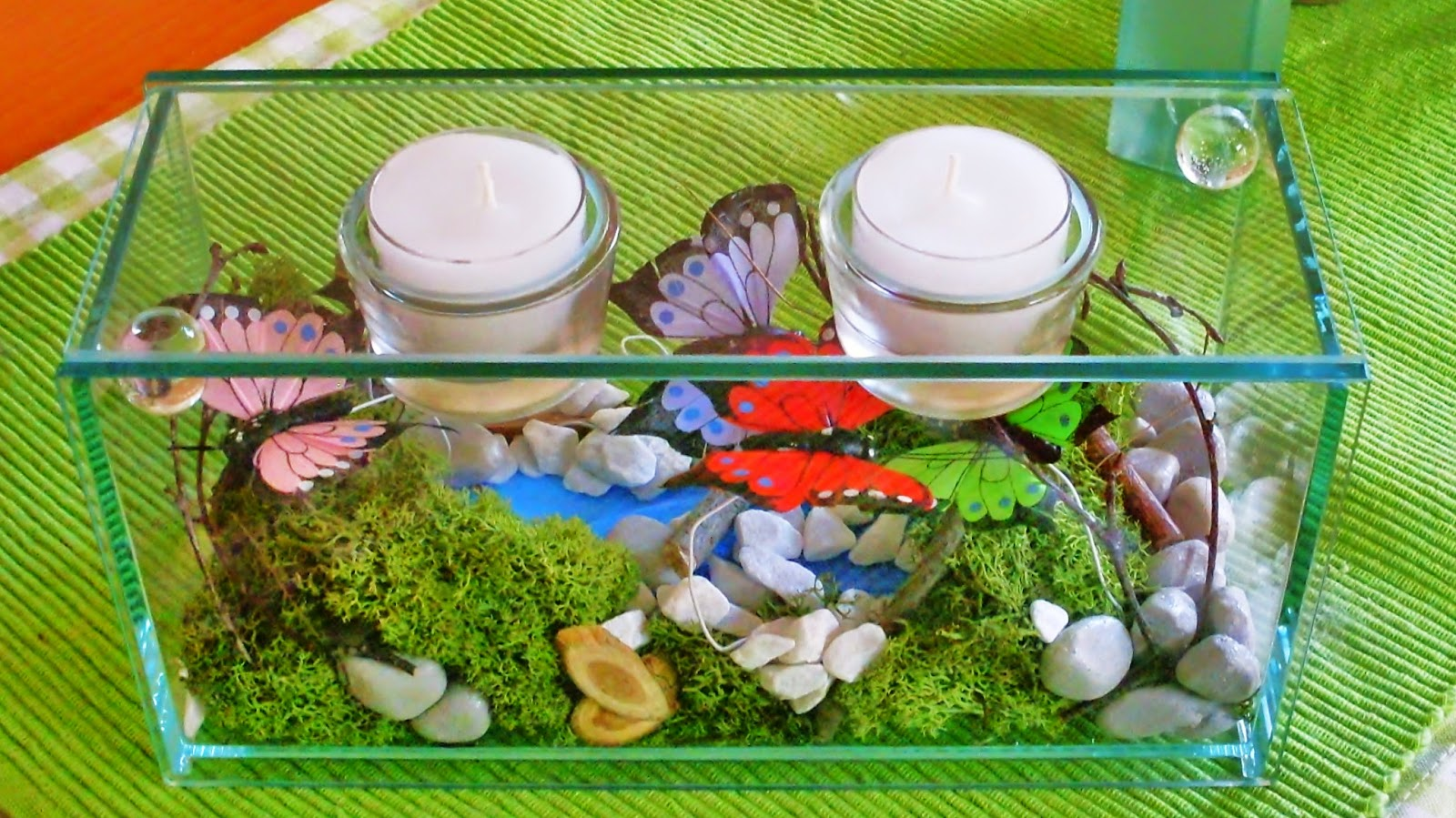 Teelichthalter mit Miniaturlandschaft