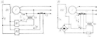 Принципиальные схемы систем прямого токового (а) и прямого фазового (б) компаундирования