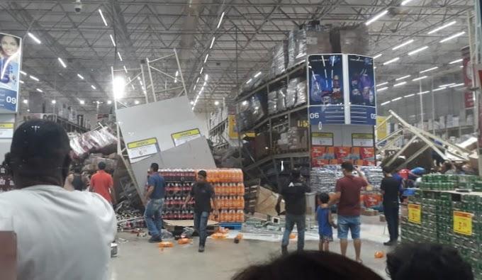 Vídeos: Prateleiras de um supermercado desaba em cima dos clientes, no MA