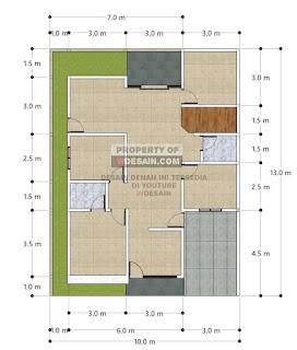 Denah Rumah Minimalis 4 Kamar Tidur 1 Mushola
