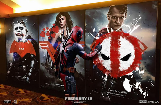 Deadpool vandalises Superman VS Batman Poster