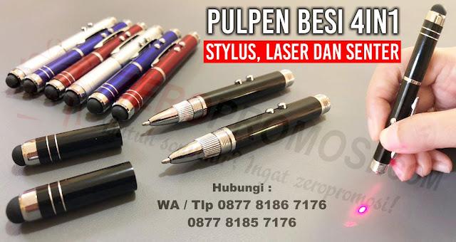 pen 4in1 dengan fungsi pulpen, stylus, laser dan senter, Pen Besi 4 in 1 Promosi - Souvenir Pulpen Stylus, Laser dan Senter