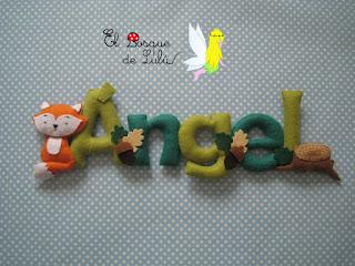nombre-fieltro-felt-feltro-Ángel-babyroom-nacimiento-animales-elbosquedelulu-name-banner-decoración-infantil-regalo-personalizado