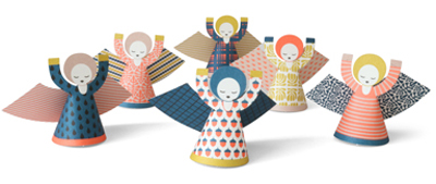 fridur angels, christmas angels, paper angels, nordic, pattern design, pop out angels