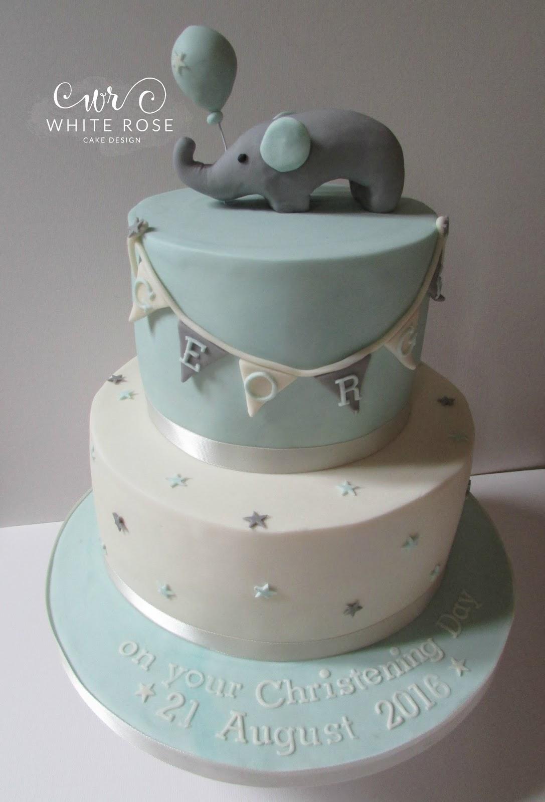 Baby Elephant Christening Cake In Blues