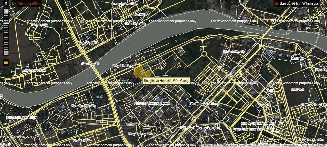 Vị trí chung cư nhà máy hóa chất Đức Giang.