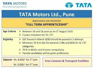 10th Pass Candidates Applications are invited for Full Term Apprenticeship In TATA Motors Ltd, Pune