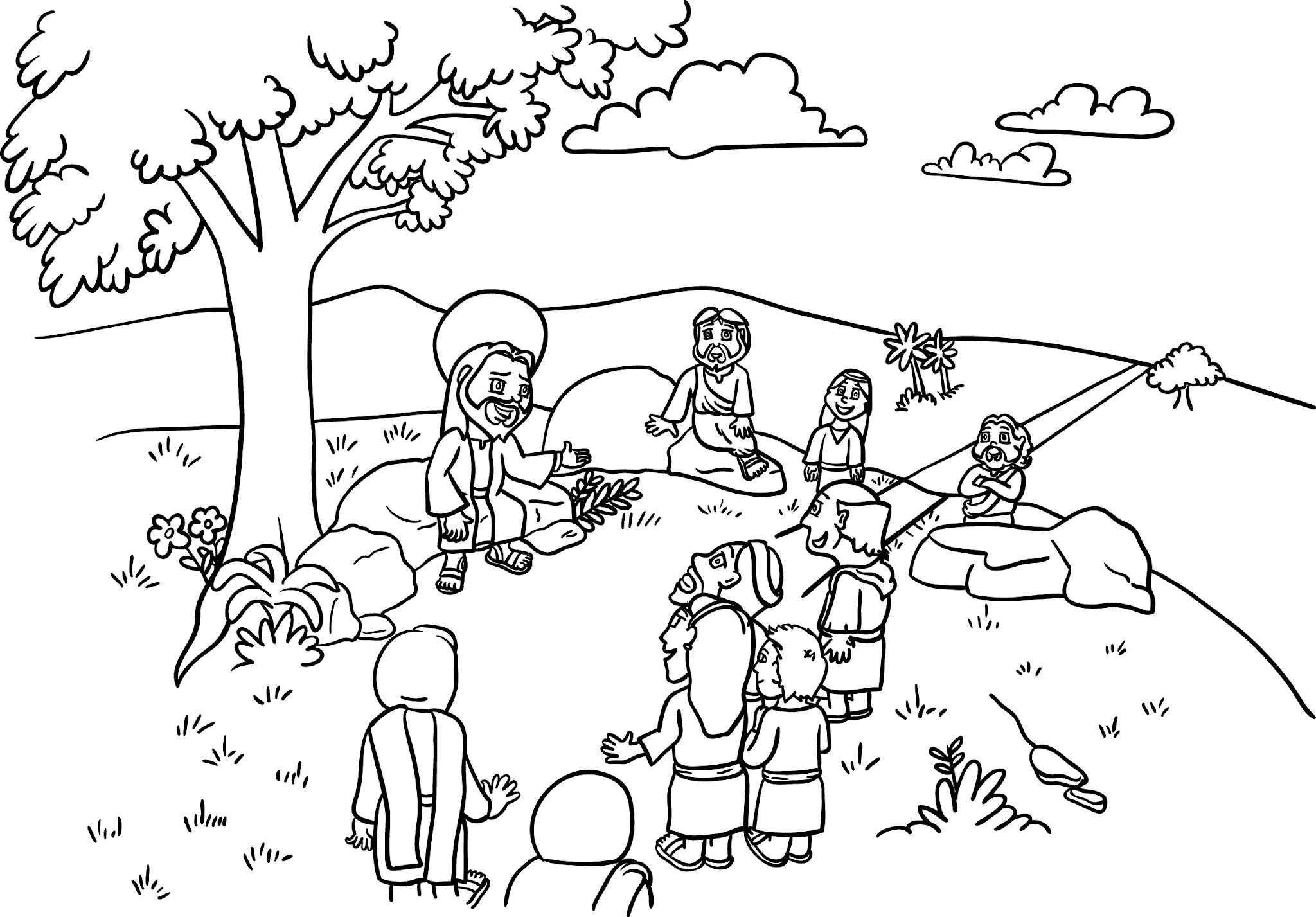 Jesus contando parábolas - para imprimir e colorir
