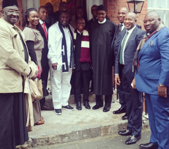 Buhari pictured as he leaves London apartment for Chattam House