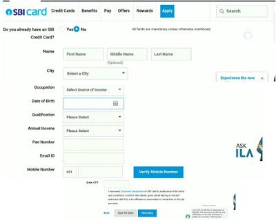 एसबीआई क्रेडिट कार्ड के लिए ऑनलाइन आवेदन Apply online for sbi credit card