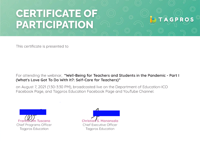 Certificate for August 7   Day 1 Session Tagpros Webinar Series for Teachers now Ready for Download!