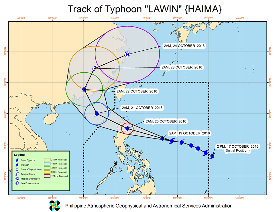 Super typhoon Lawin track October 19