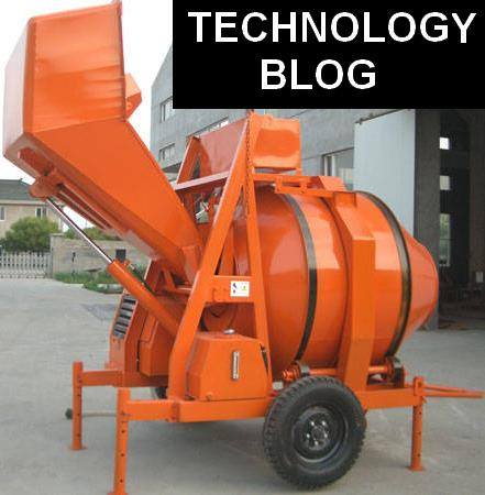 Concrete mixers with hydraulic hopper