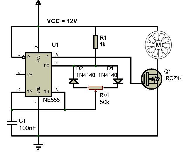 Rangkaian Kontrol Kecepatan Kipas Angin Dc