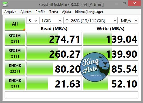 Teste de Velocidade SSD WEJINTO 120GB