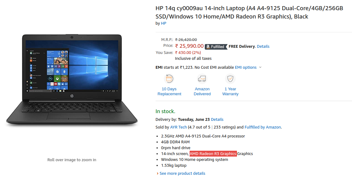 Hp 14q Cy0009au Laptop Lowest Price In India