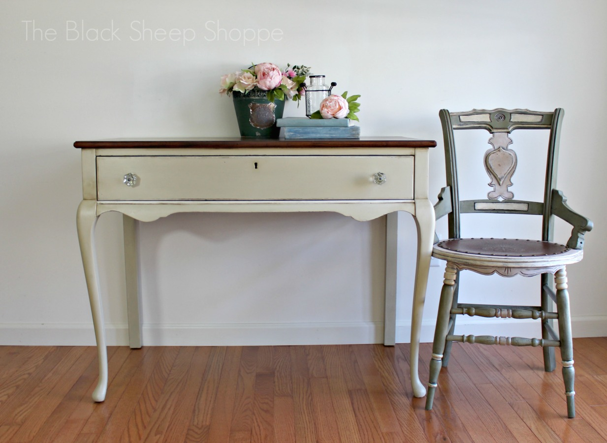 Writing desk and chair painted with Annie Sloan Chalk Paint