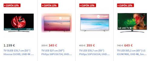Top 5 ofertas -15% en cupón en algunos TVs de Carrefour Online