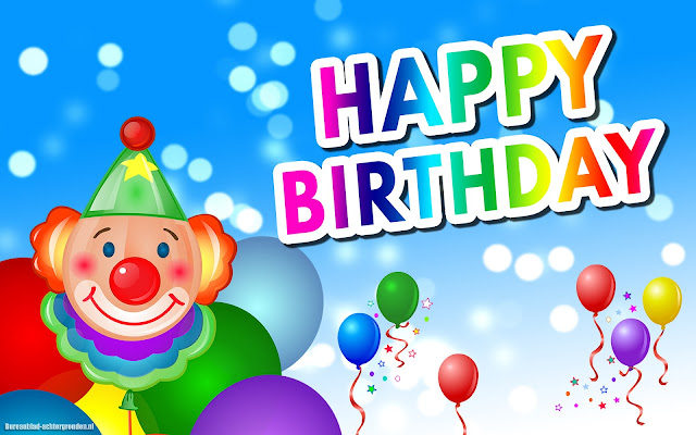 Happy birthday verjaardag wallpaper met clown en ballonnen