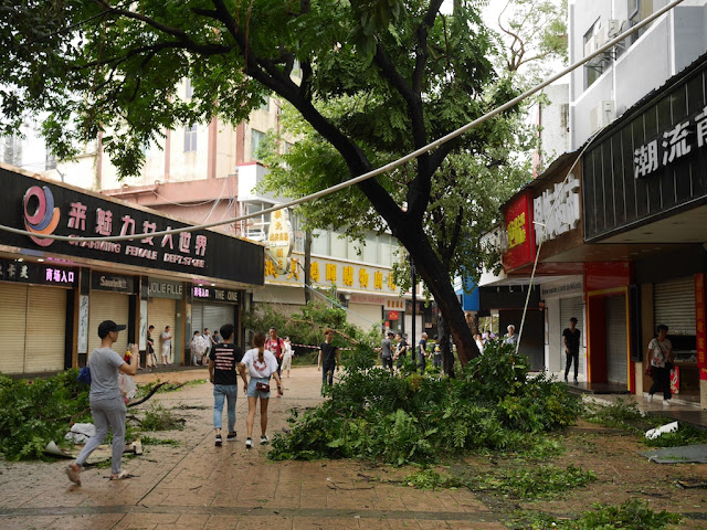 damage from Typhoon Hato at the Lianhua Road Pedestrian Street in Zhuhai, China