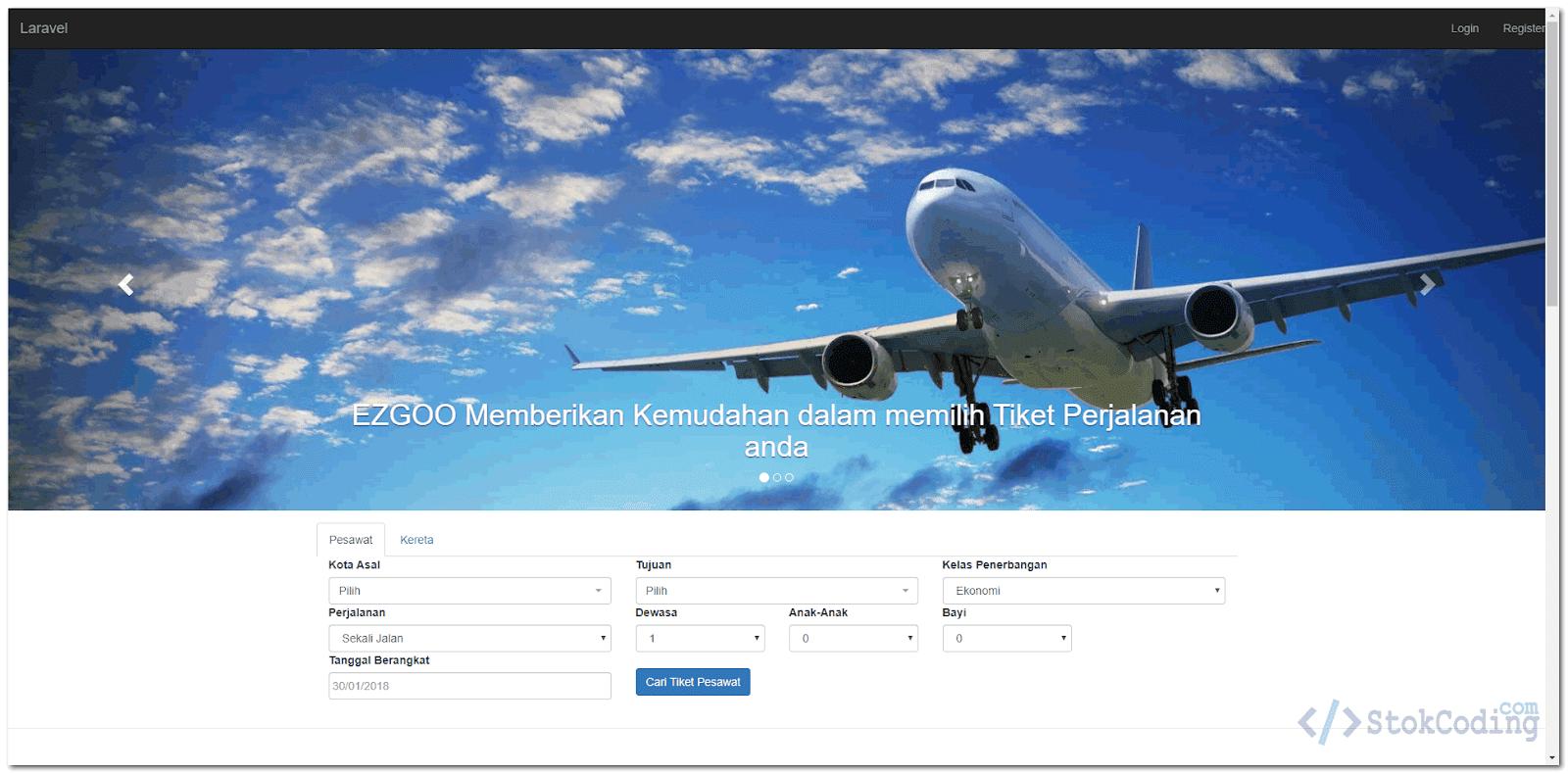 Aplikasi Web Booking Tiket Pesawat & Kereta (Laravel)